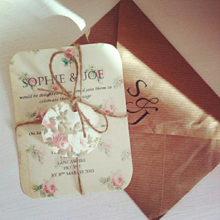 elegante-Hochzeitseinladungen-coole-Idee-schick-romantisch-Rosen-Dekoration-Schnur