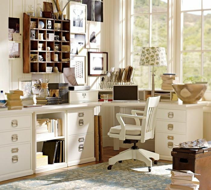 Arbeitszimmer-Büromöbel-weiß-Schreibtisch-Schubladen-Stuhl-vintage-Regale