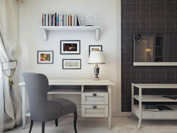 Arbeitszimmer-aristokratische-Gestaltung-3D-Zeichnung-Schreibtisch-mit-Regal-Schubladen-Bücher-grauer-Sessel-vintage-Gardinen