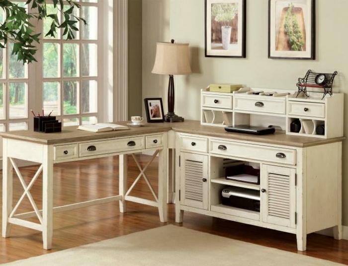 Arbeitszimmer-zwei-Schreibtische-vintage-Stil-Schubladen-Regale