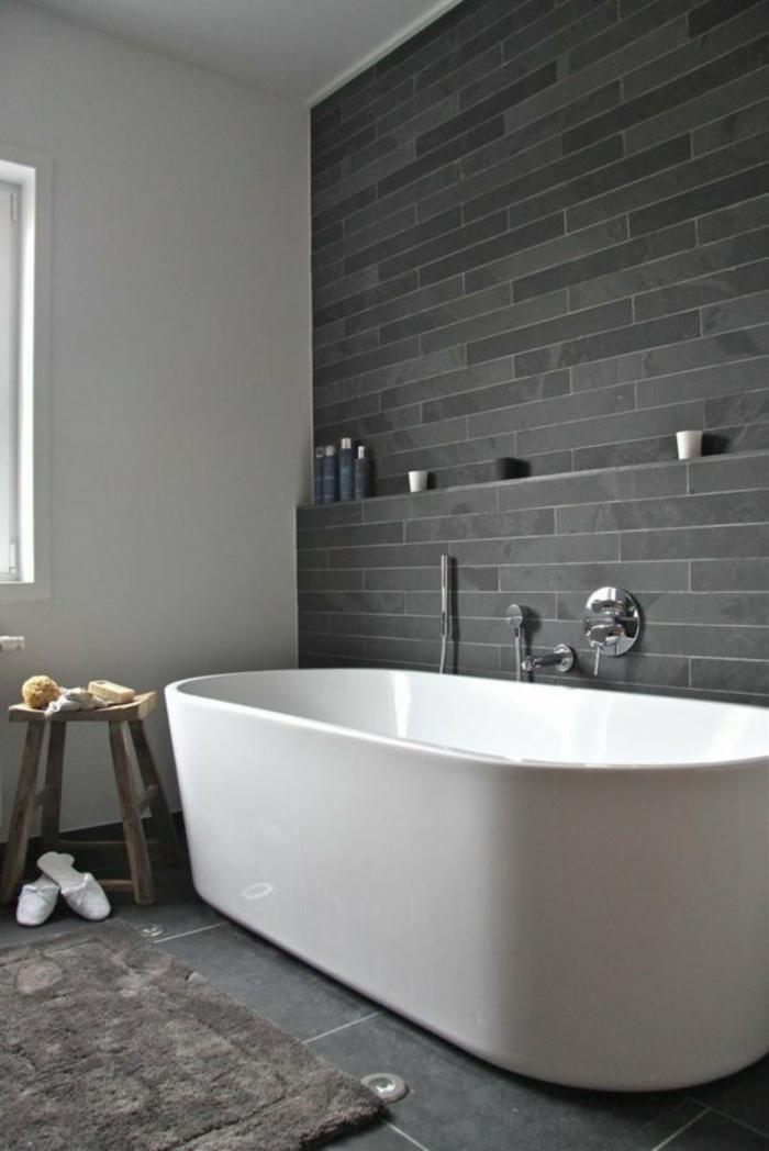 Fantastisch Bad Wanne Grau Weiß   Graue Wand