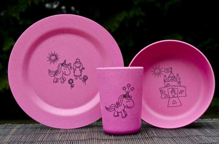 Bamboo-Set-3-Teile-rosa-Zeichnungen-Kinder