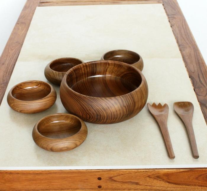 Bamboo-Set-Schalen-Salat-Gabel-Löffel-Tisch