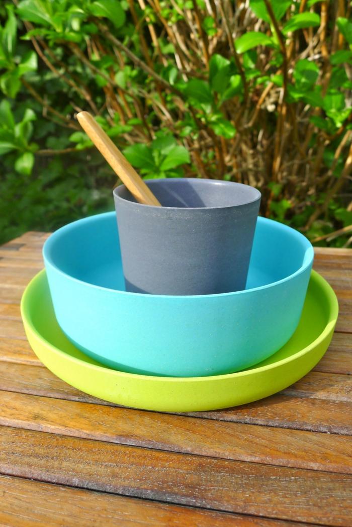 Bambus-Eco-Geschirr-blau-grün-Kinder-Set