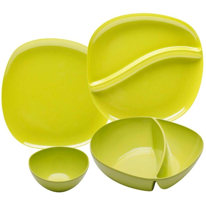 Bambus-Set-Geschirr-Neon-Farbe-Teller-Schalen