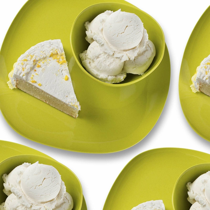 Bambus-Set-Geschirr-Teller-Schalen-grün-schönes-Design-Torte-Stück-Eis