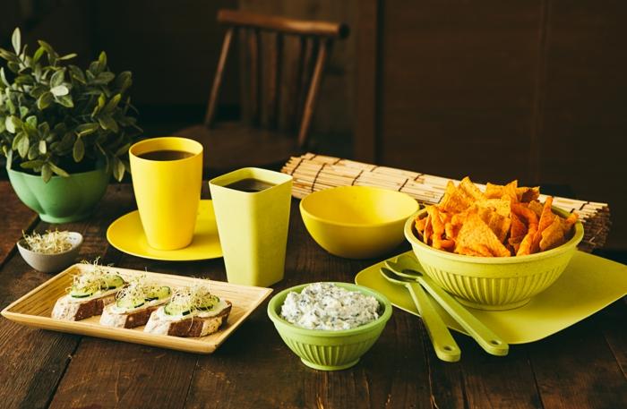 Bambus-Geschirr-Set-gelb-grün-Schalen-Nachos-Dip-Bruschettas-Getränke