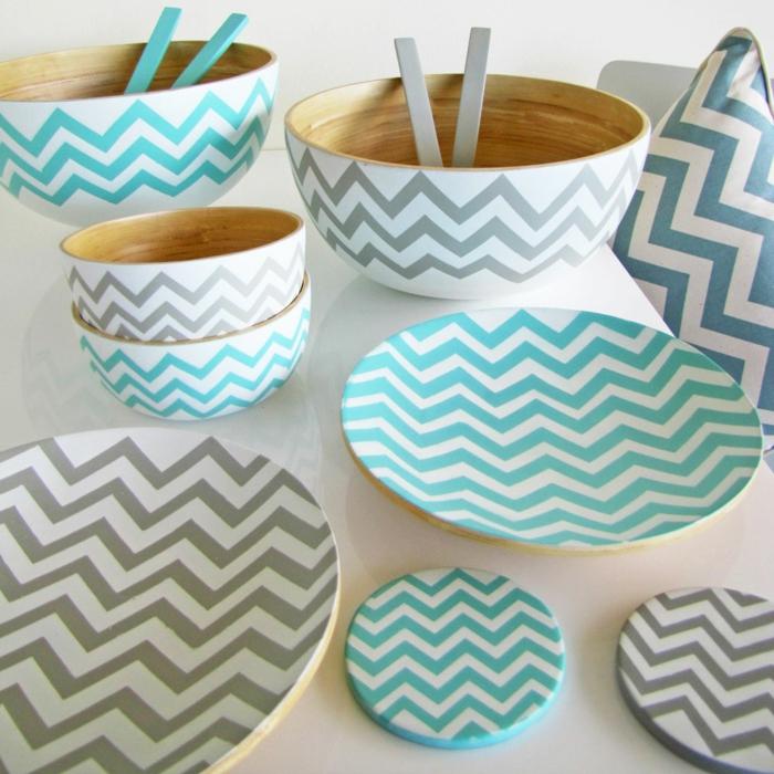 Bambus-Set-kreatives-Design-graue-blaue-Figuren-Teller-Schalen