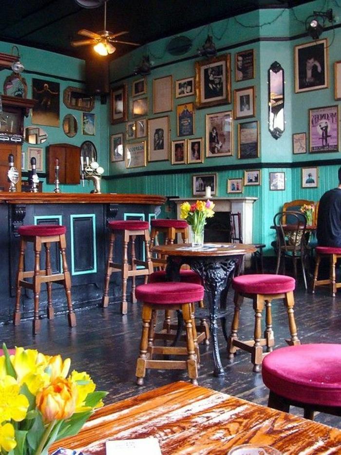 Bar-Hocker-Samt-Sitz-Zyklamen-Farbe