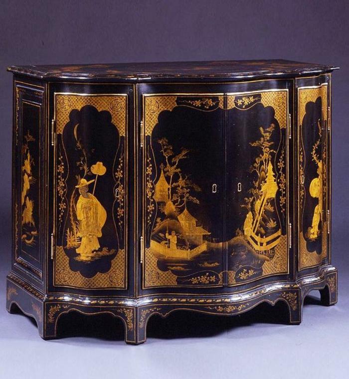 Barock-möbel-schwarze-Kommode-Zechnungen-Dekoration-englisches-Design