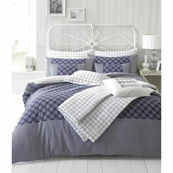 Bett-Decke-modernes-Muster-lila-weiß