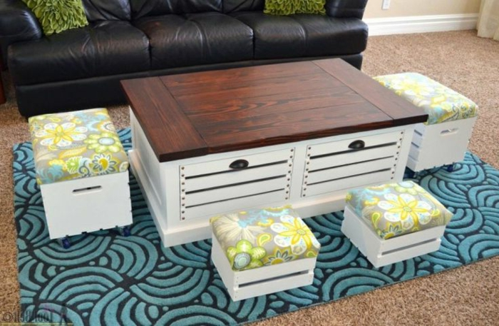 Couchtisch-Kasten-weiß-Hocker-Designer-Teppich-Leder-Couch
