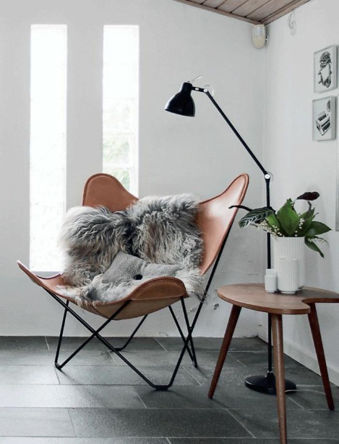 Designer-Sessel-Leder-Pelz-Stehlampe-Topfpflanze
