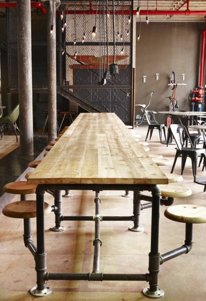 Esszimmer-Hocker-Rohrleitung-Imitation-Holz-Sitze-Tischplatte
