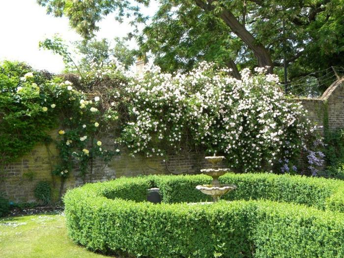 Garten-Büsche-Wasserbrunnen-Stein-Mauer-Gras-Blumen