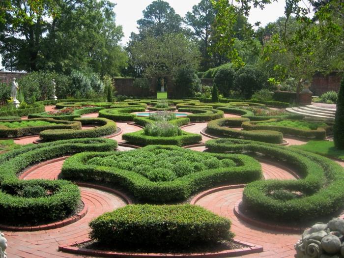 Garten-englisches-Design-wunderschön-aristokratische-Figuren