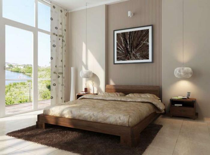 Großes-Bett-braun-teppich-hängelampen