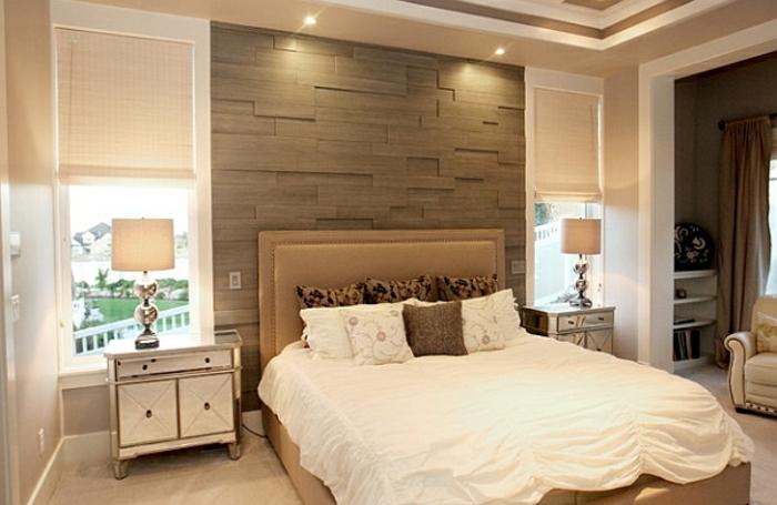 Großes-Bett-dekorwand-deckenbeleuchtung
