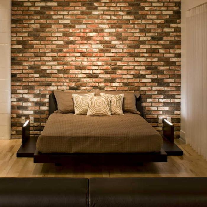 Großes-Bett-kopfbrett-ziegelwand