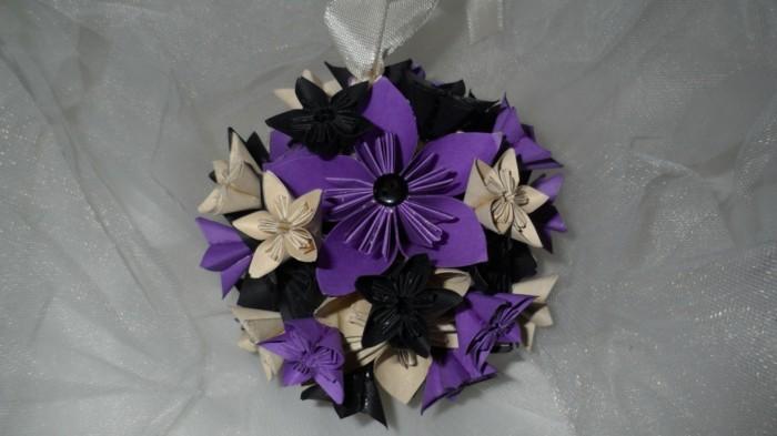 Hochzeit-tischdekoration-blumen-schwarz-lila