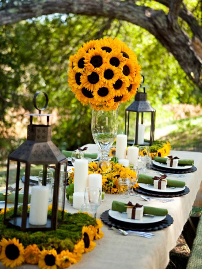 Hochzeit-tischdekoration-sonnenblumen-kerzenhalter