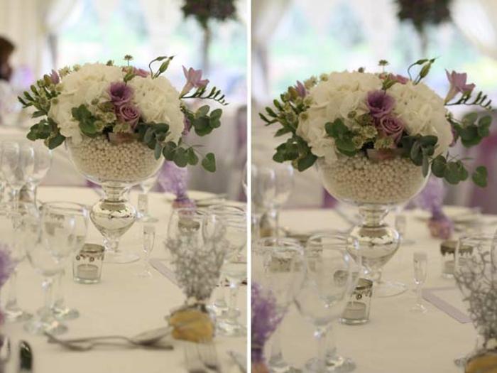 Hochzeit-tischdekoration-violet-weiß
