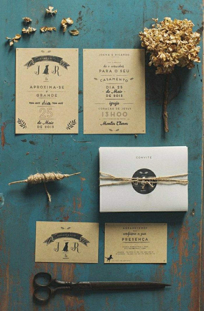 Hochzeitseinladungen-rustikal-kreativ-Schnur-braunes-Papier-nostalgisch-romantisch