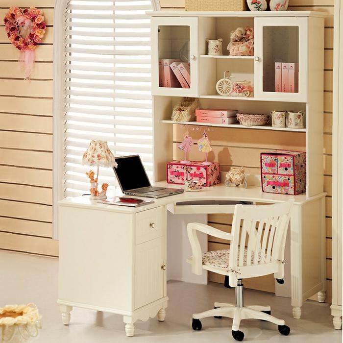 Kinderzimmer-Mädchen-schreibtisch-weiß-Regale-rosa-Elemente-shabby-chic-Stil-Schubladen-Stuhl-Rollen
