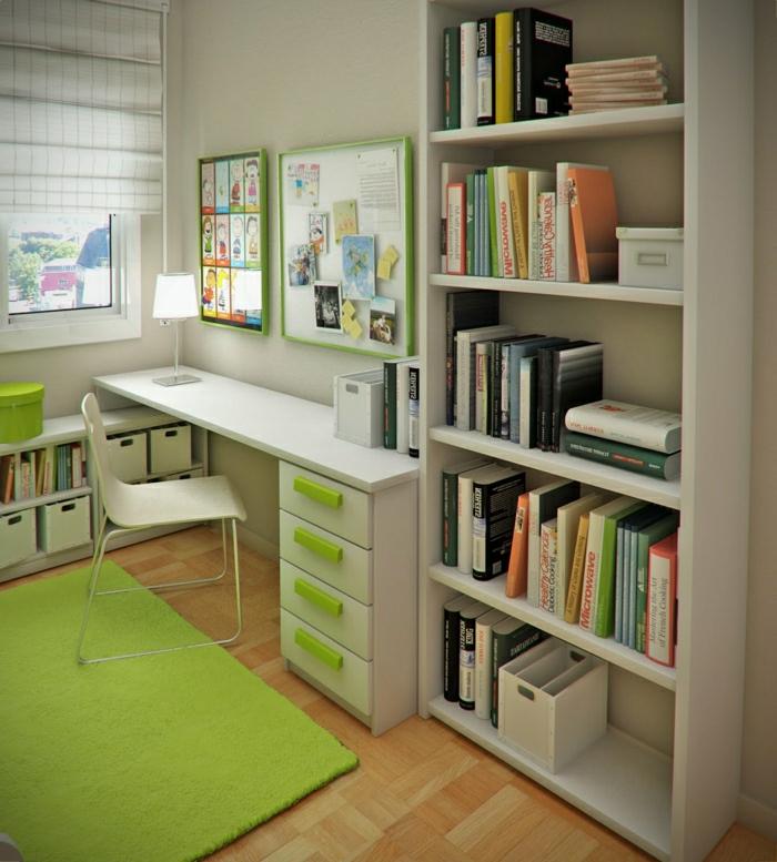Kinderzimmer-frische-Akzente-grüner-Teppich-Schreibtisch-Schubladen-Regale-Bücher-Tafeln