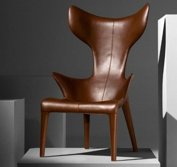 Leder-Stuhl-feines-Design-einmaliges-Modell