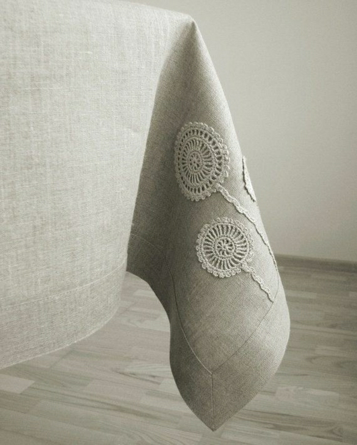 Leinen-Tischdecke-beige-Stickerei-Blumen-dekoration