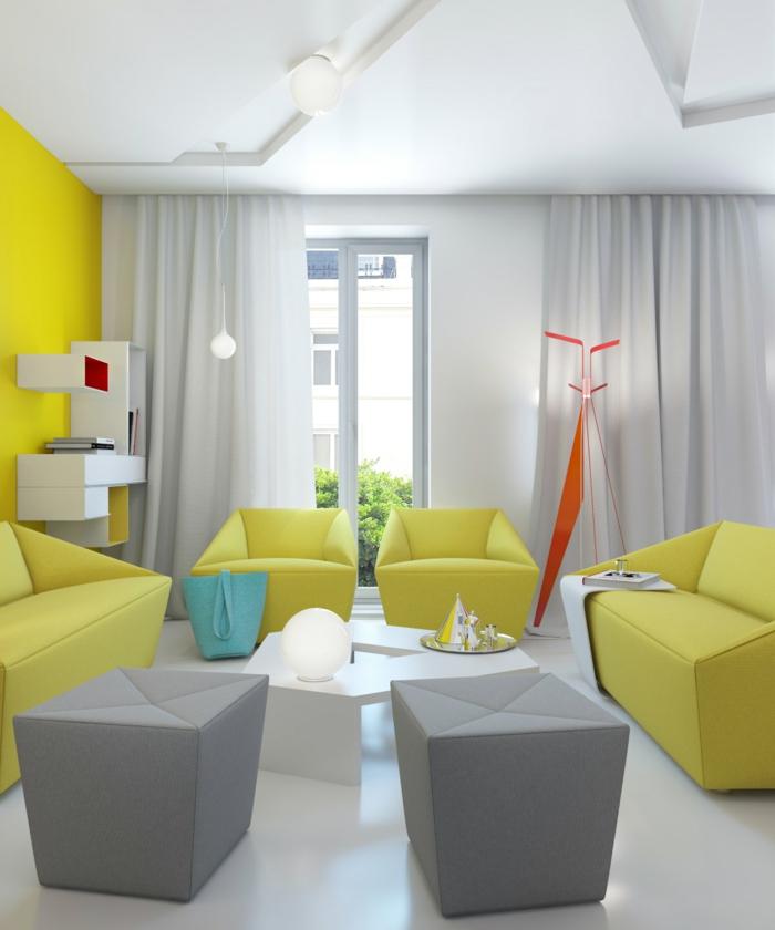 Möbel-modernes-Design-graue-Hocker-frische-grüne-Sessel-Sofas-weißer-Couchtisch-Regale-kreatives-Design