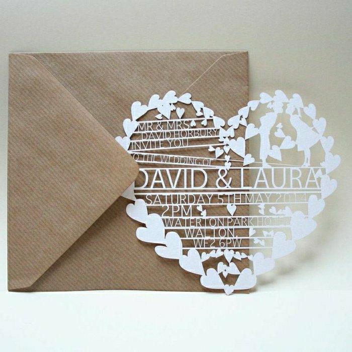 Eine einfache Hochzeitseinladung sieht viel frischer aus, wenn umgeben ...