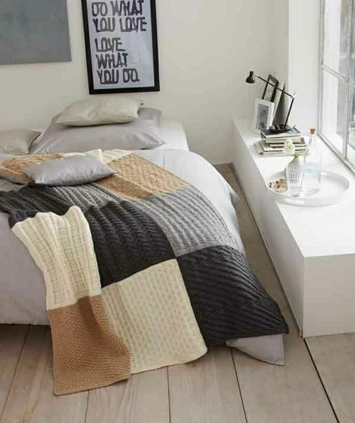 Patchwork-Bettdecke-beige-braun-schwarz-grau