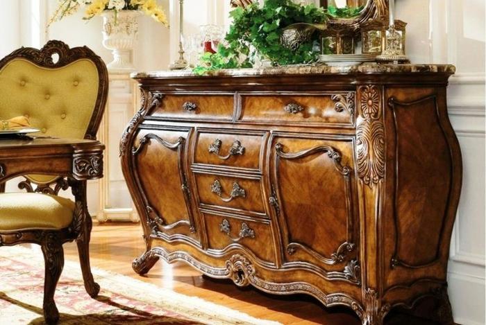 Rokoko-Barock-möbel-hölzerne-Barock-Kommode-Ornamente-gelber-Sessel