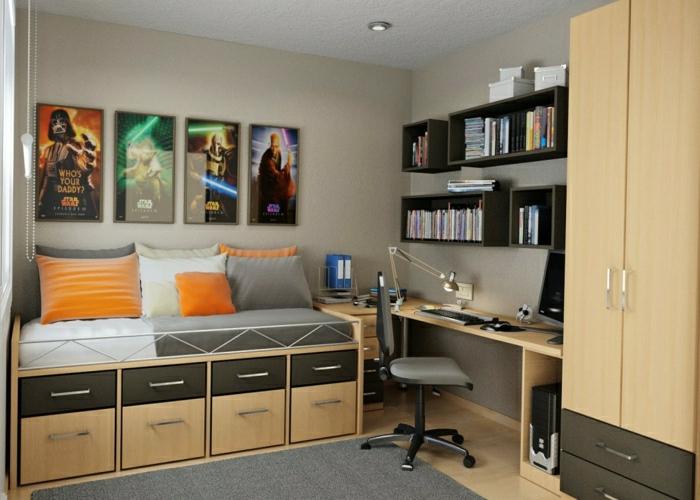 Schlafzimmer-Arbeitsecke-Schreibtisch-Regale-Bücher-Kleiderschrank-Leselampe-Stuhl-Rollen