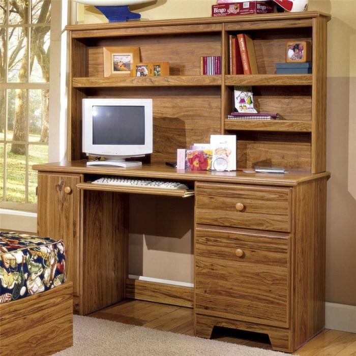 Schlafzimmer-vintage-Schreibtisch-Schubladen-Regale-Bücher-Fotos-Computer