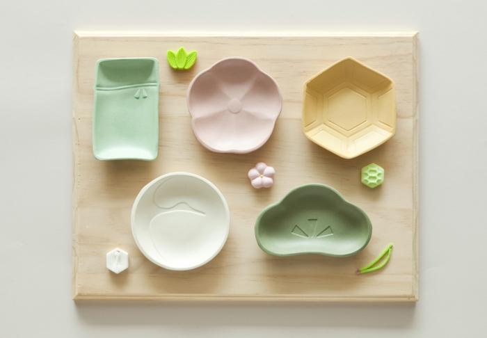 Schneidebrett-Schalen-Bambus-Geschirr-Pastellfarben-Kinder-Set-kreatives-Design-süß
