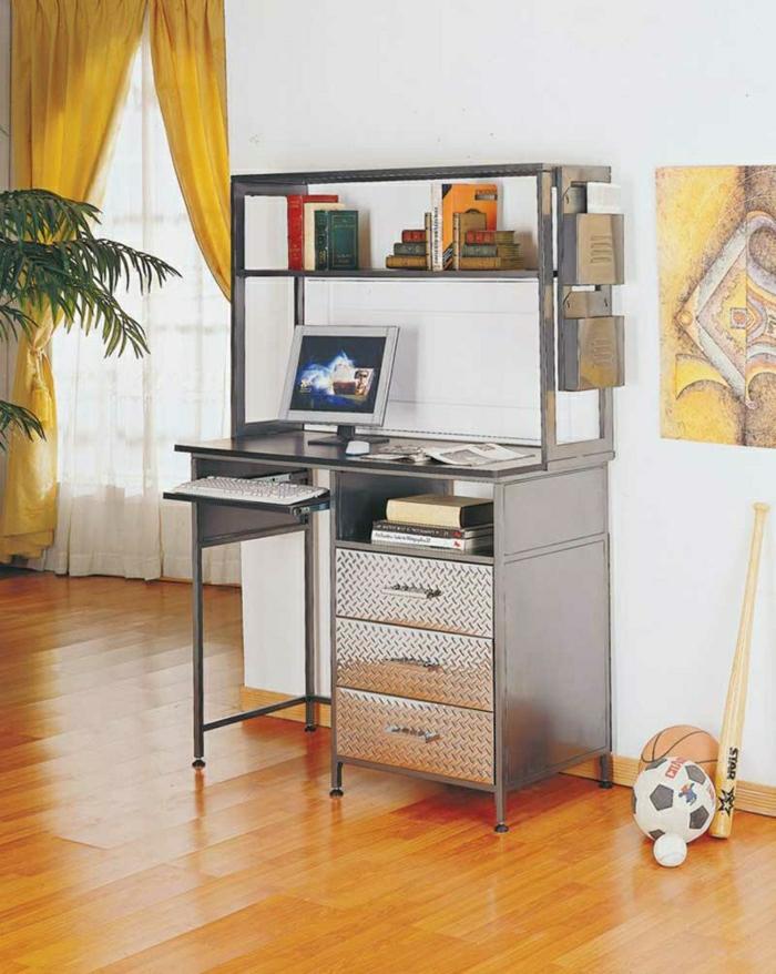 Schreibtisch-mit-Regal-Metall-glänzende-Oberfläche-Schubladen-Bälle-Bild-gelbe-Vorhänge