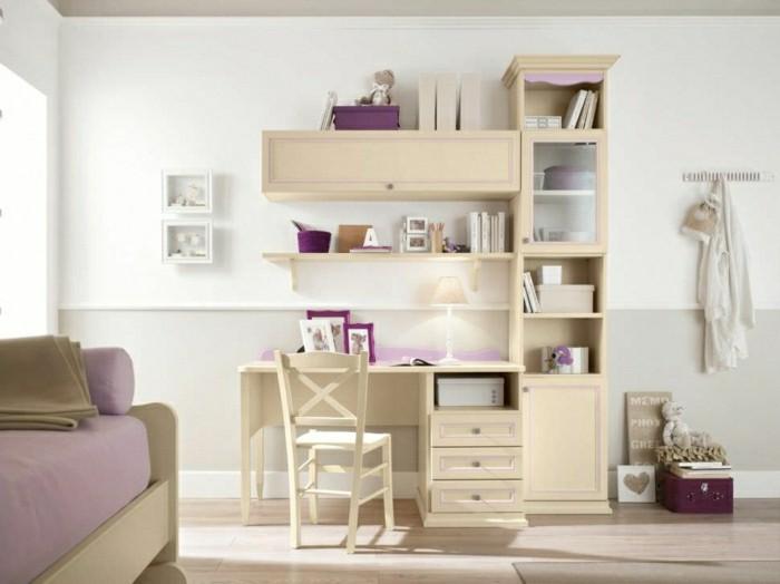 Schreibtisch-mit-Regal-Pastellfarben-creme-rosa-Elemente-Schubladen-rosa-Sofa