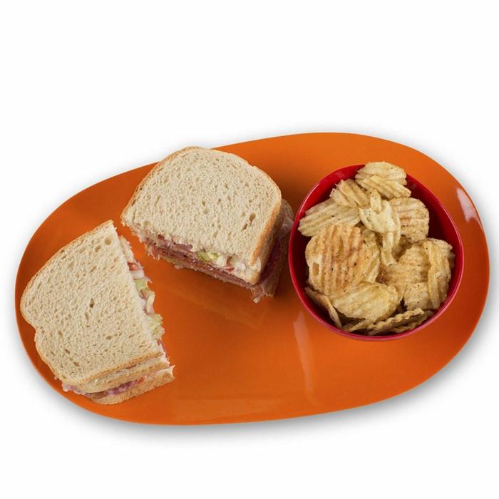 Serviertablett-Bambus-Schale-rot-orange-Chips-Sandwiches