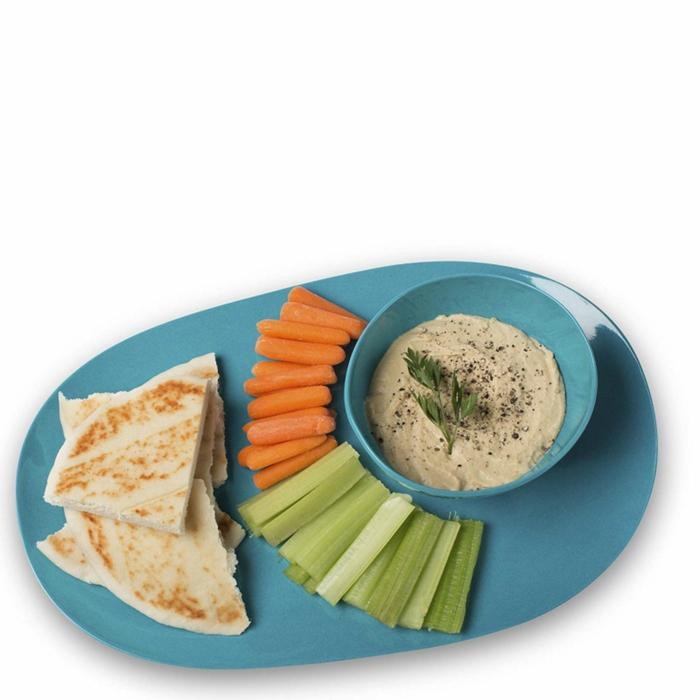 Serviertablett-Bambus-blau-Schale-Dip-Gemüse-Brot