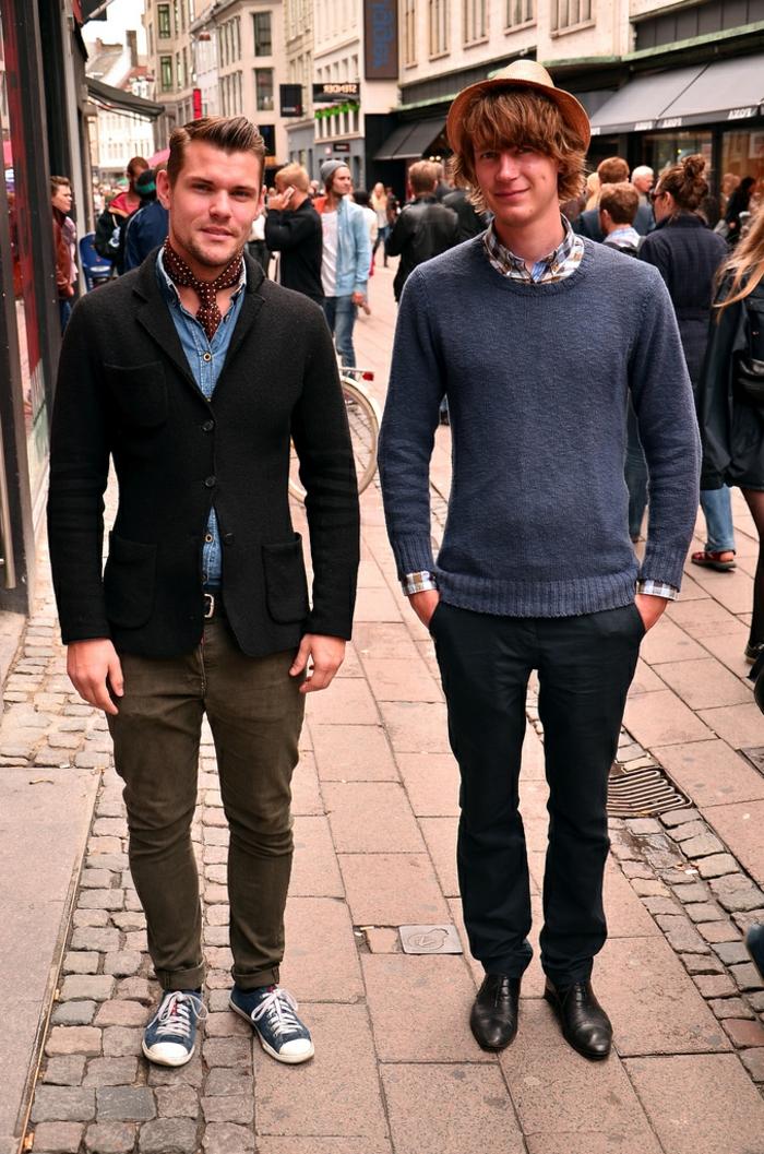 Skandinavishe-Mode-herren-hut-krawatte-sport