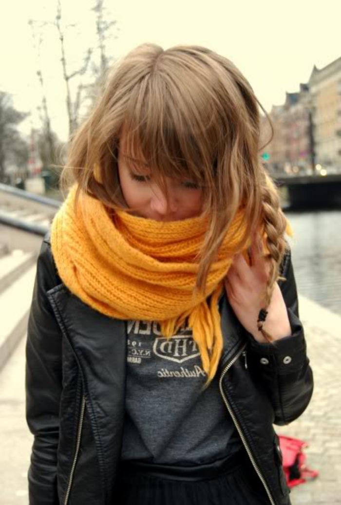 Skandinavishe-Mode-schal-gelb