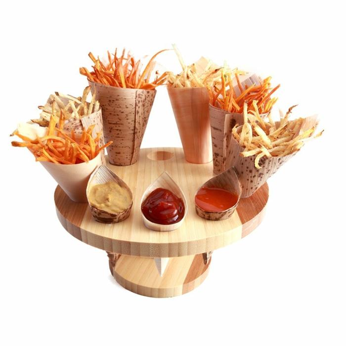 Ständer-Holz-Bambus-Trichter-Pommes-frites-Ketchup-Senf-Salza-Chili