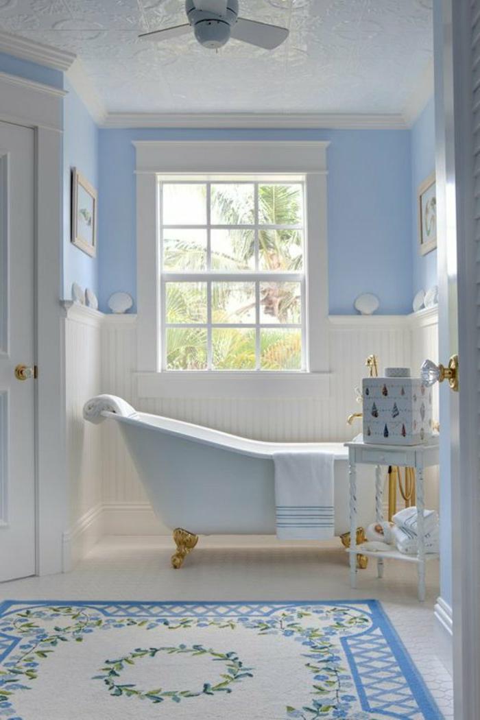 Teppich-Bade-Farbe-weiß-blau-Boden-Boden-weiß-Badewanne-Größe