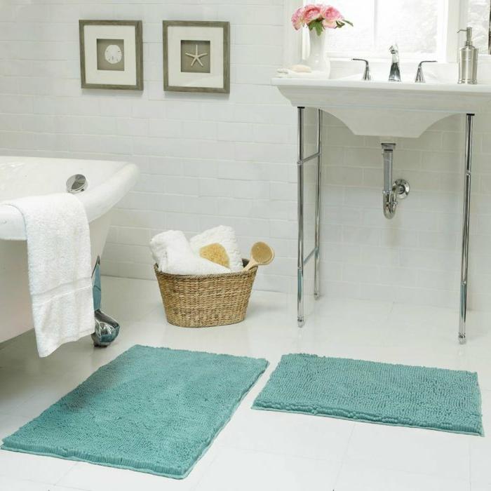 Teppich Dusche Blau For Badewanne Mit Beige Fliesen