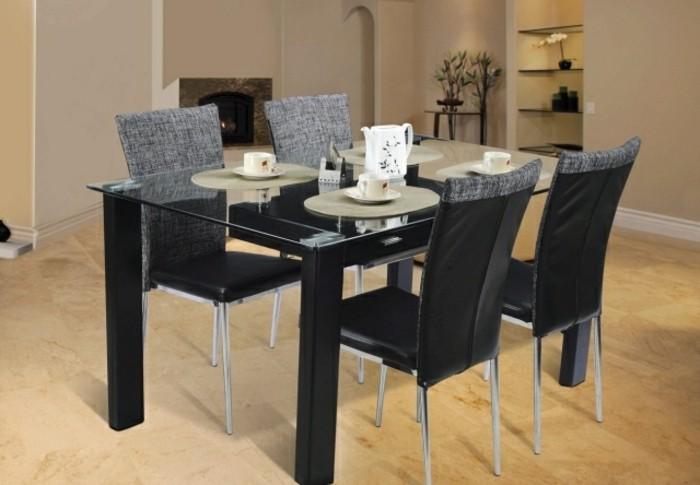 Tisch-mit-Stühlen-schwarz-polster-kaffee-set