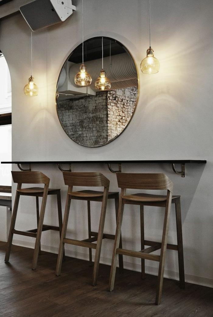Tischplatte-bar-hocker-mit-lehne-Holz-Leuchten