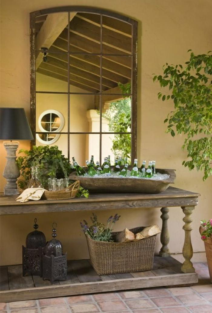Veranda-Garten-gartenmöbel-holz-rustikal-Rattankorb-Tischplatte-Konsole-Waschbecken-Kühler